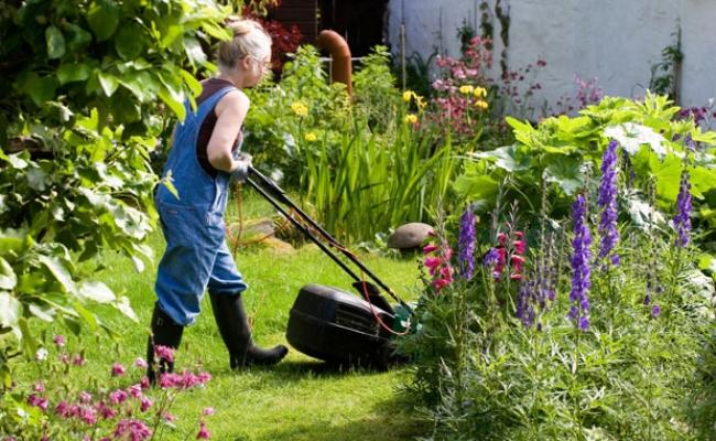 Corte el césped de su jardín