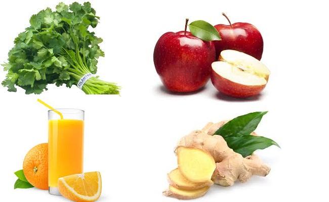 El cilantro, manzana, jengibre
