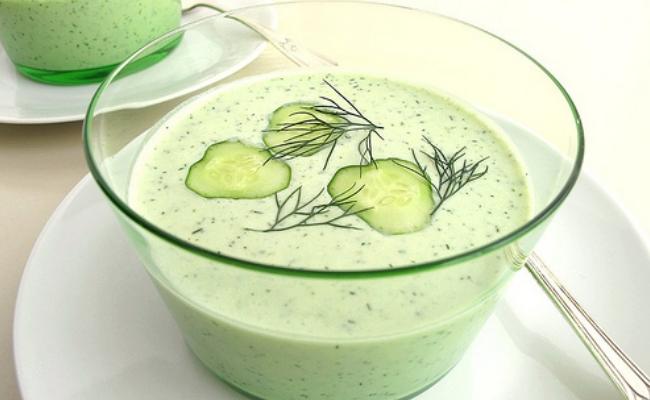 Enfriamiento sopa de pepino