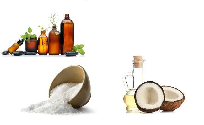 Envoltura corporal con sal, aceite de coco y el aceite esencial