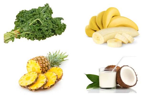 Kale, piña, plátano y leche
