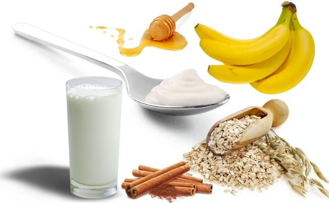 La harina de avena básica, plátano, yogurt, leche, miel y canela Batido