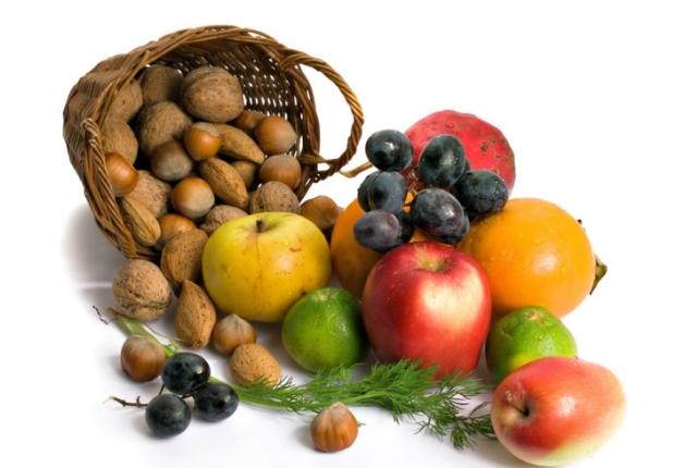 Las verduras, frutos secos y frutas