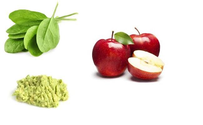 espinaca, aguacate y manzana