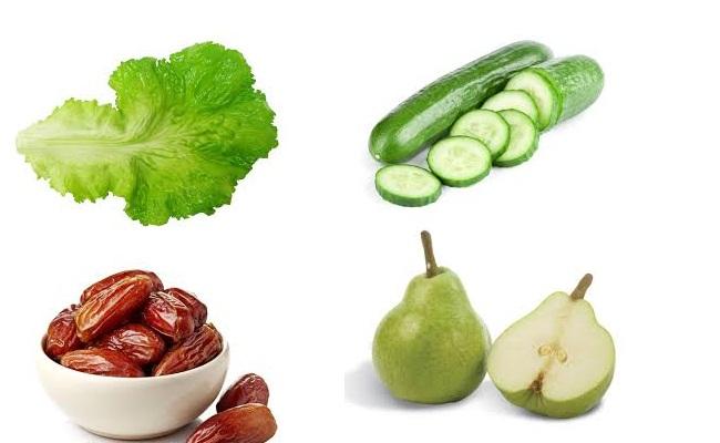 lechuga, pepino, brotes verdes