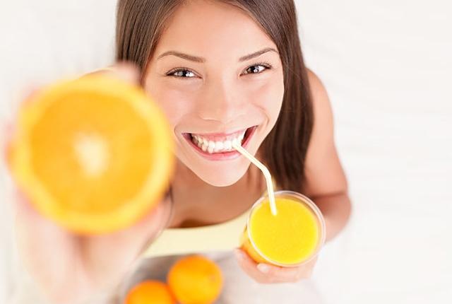 naranja de la bebida