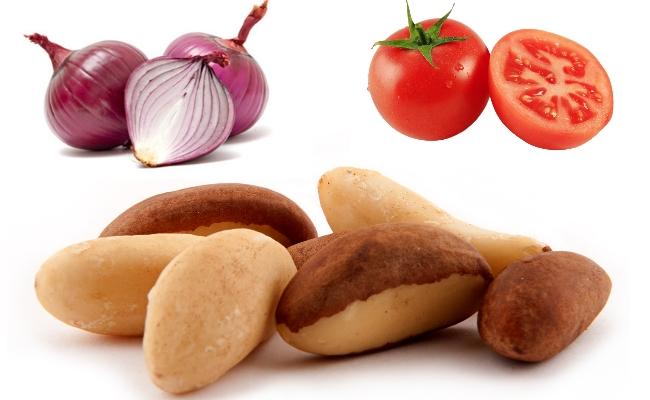 nueces del Brasil, cebolla, tomate