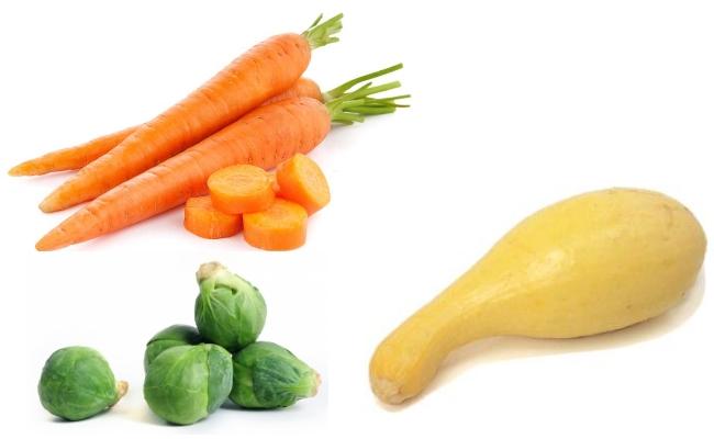 zanahoria, calabaza, coles de Bruselas