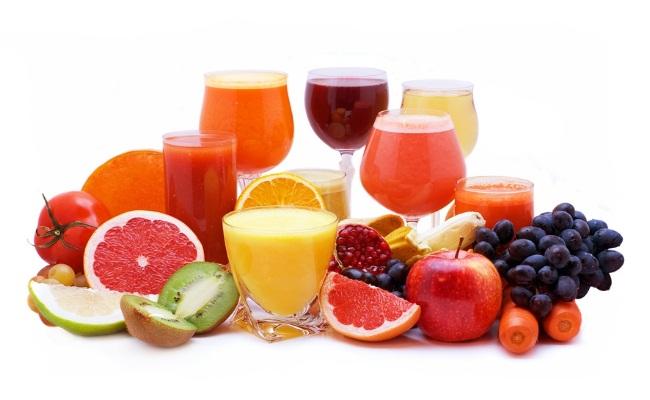 Frutas y hortalizas frescas jugos