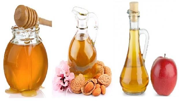 Máscara de miel, aceite de almendra y vinagre de manzana para el cabello seco